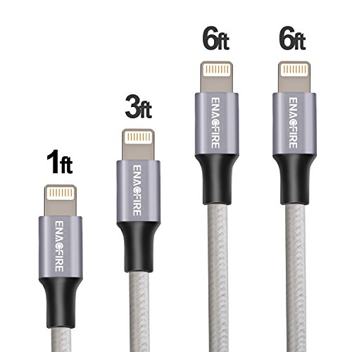 #LightningDeal 97% claimed: ENACFIRE Lightning Cable iPhone 6 Charger 4Pack (1ft,3ft,2X6ft) Assorted Lengths Combination Durable and Fast Charging Cable for iPhone 7/7+/6/6+/6s/6s+/5/5s/5c/SE, iPad and More (Space Gray)