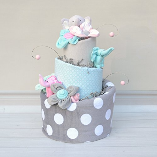 Elephant Baby Shower Girl Diaper Cake by Baby Blossom Company