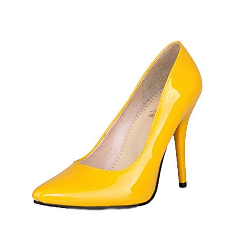 Yellow Pull WeenFashion Leather Heels Shoes Patent Pumps High Toe Women's Closed On fPSqw5AxS