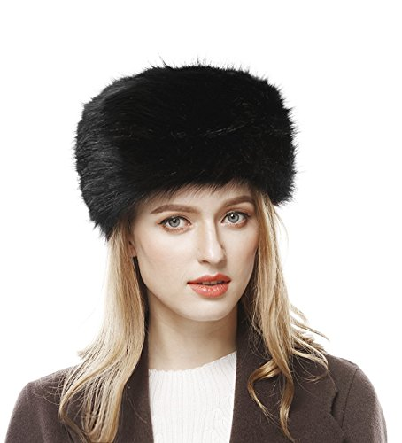 Lovful Winter Women Faux Fur Russian Cossack Style Hat Winter Wrap Hat,Black,One Size