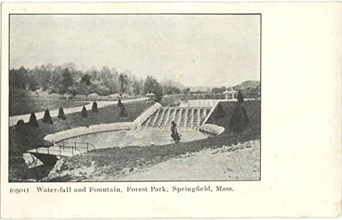 Water-fall and Fountain, Forest Park Springfield, Massachusetts Original Vintage Postcard