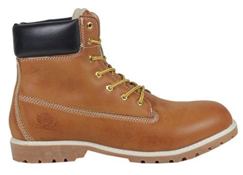 Vancoula - LederLook Damen Outdoor Worker Boots Stiefelette Winter Schnürboots 36 37 38 39 40 41 LederLook Camel Gelb