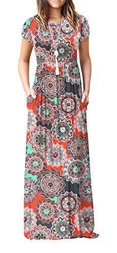 VIISHOW Women's Short Sleeve Floral Print Scoop Neck Loose Plain Maxi Dresses Casual Long Dresses with Pockets(Round Floral Orange XL) from VIISHOW