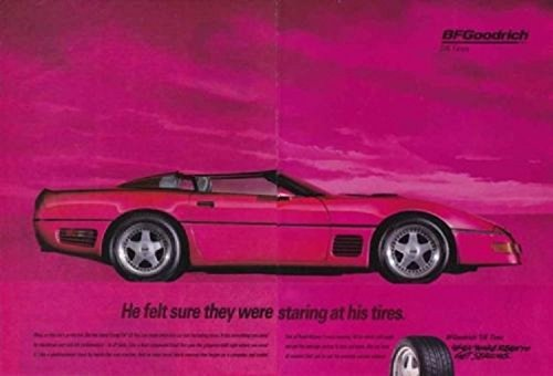 ORIGINAL *PRINT AD* 1993 BF GOODRICH T/A TIRES wirh CALLAWAY SUPERNATURAL CL-1 CORVETTE ROADSTER