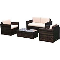 Garden and Outdoor Outsunny 4-Piece Cushioned Patio Furniture Set, with 2 Chairs, Sectional, and Glass Coffee Table, Rattan Wicker, Brown patio furniture sets