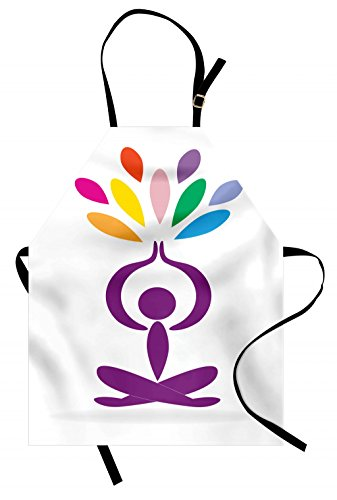 Lunarable Yoga Apron, Meditation and Wellbeing Concept Man in Lotus Pose with Rainbow Colored Drop Shapes, Unisex Kitchen Bib Apron with Adjustable Neck for Cooking Baking Gardening, Multicolor by Lunarable
