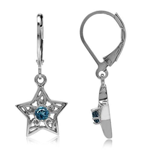 - Genuine London Blue Topaz White Gold Plated 925 Sterling Silver Filigree Star Leverback Earrings