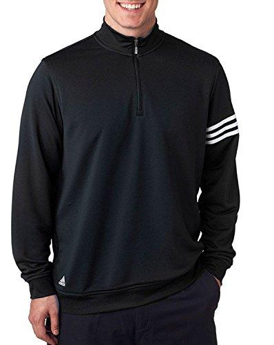 Adidas Half Zip Sweatshirt - Adidas Men's ClimaLite 3-Stripes Half Zipper Pullover, Black/ White, X-Large