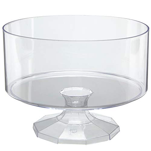 "(Disposable Pedestal Trifle Bowl, 3 Pack – 8"" Round Clear Elegant Plastic Food and Dessert Server With Decorative Base for Buffet Tables, Parties and Events - Ultra Durable and Reusable)"