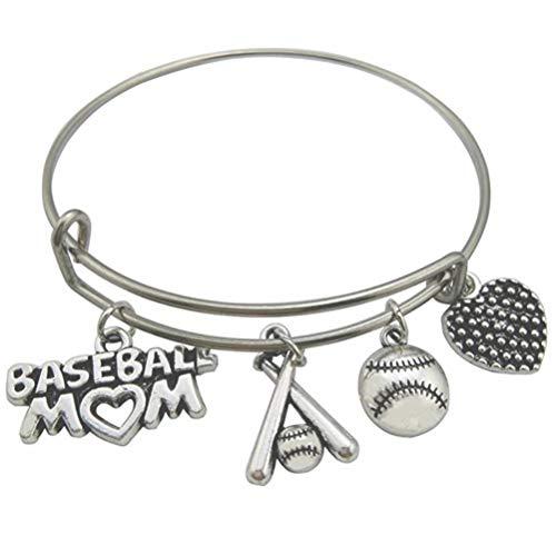 My Shape Charm Stainless Steel Bangle Bracelet Baseball Mom Heart Expandable Wire Bangles with DIY Baseball Bat for Mother Women