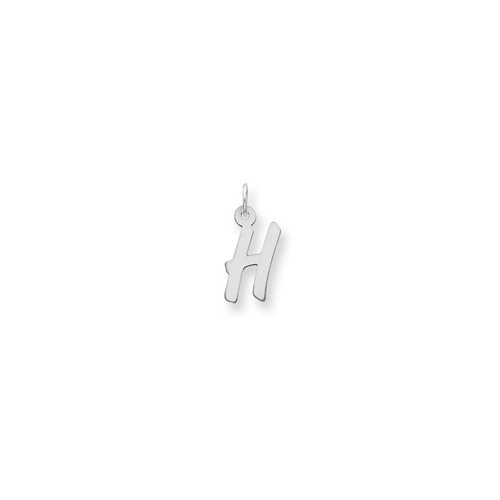 21mm x 9mm Solid 925 Sterling Silver Pendant Medium Initial Letter H Charm