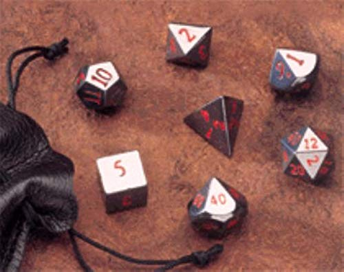 Dwarven Stones - Dice Carved From Real Stone - Hematite 14mm (7 pc. Set) w/Pouch (Dice Carved Stone)