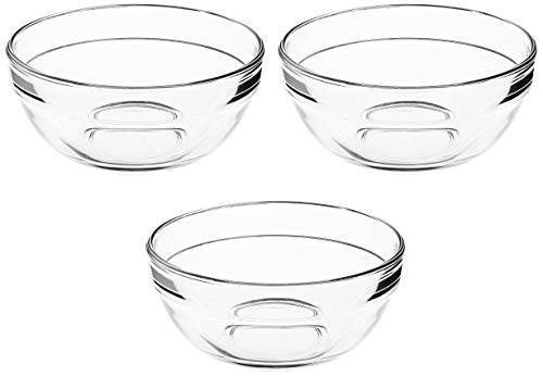 Amazon Brand   Solimo Glass Gravy Bowls Set  3 pieces, 370ml