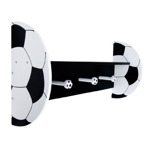 Trend Lab Soccer Wall Shelf with Pegs, Black/White