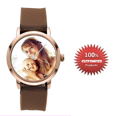 Buy HHI Brown Silicon Strap Customised Personalised Wrist Watch