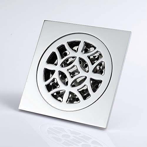 4-Inch Square Shower Floor Drain Tile Insert Pure Cupper Brushed Grate Strainer With Removable Cover Anti-Clogging, High-Grade Bronze Floor Drain by YJZ (Image #3)