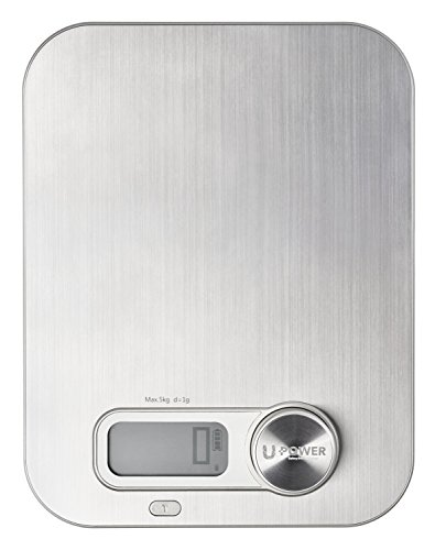 Ellessi Digital Food Scale. BATTERY FREE Digital Kitchen Scale 11lb 5kg. Stainless Steel Food (Compact Analog Scale)