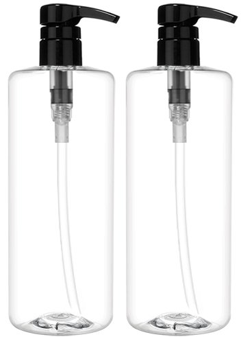 Bar5F Refillable Pump, Great Empty Dispensing Container For Shampoo, Conditioner, Body Wash, Hair Gel, Liquid Hand Soap, DIY Lotion's And Massage Oil's, 1 L/32 oz., Black, Pack Of 2