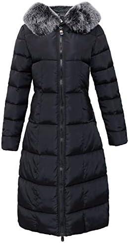 chouyatou Women's Winter Windproof Padded Long Down Alternative Coat Faux Fur Hood
