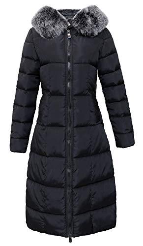 chouyatou Women's Winter Windproof Padded Long Down Alternative Coat Faux Fur Hood (X-Large, Black)