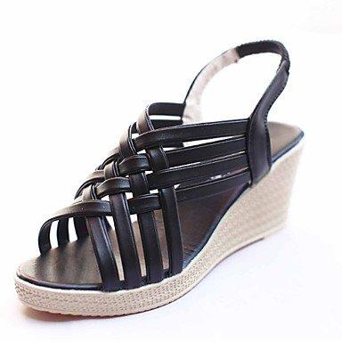 Sandalias Verano Zapatos Club polipiel oficina exterior &Amp; Carrera talón plano negro vestido dorado champán caminar Black