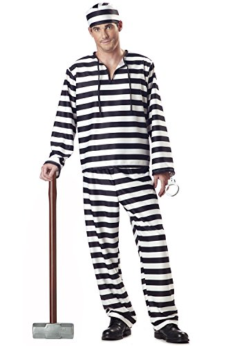 Men'S Jailbird Party Costume (White/Black;Medium) (Sexy Costume Jailbird)