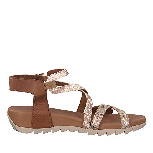 Tamaris 28709-20 098 Damen Sandale Aus Glattleder verstellbares Klettriemchen, Groesse 38, Cognac/Gold