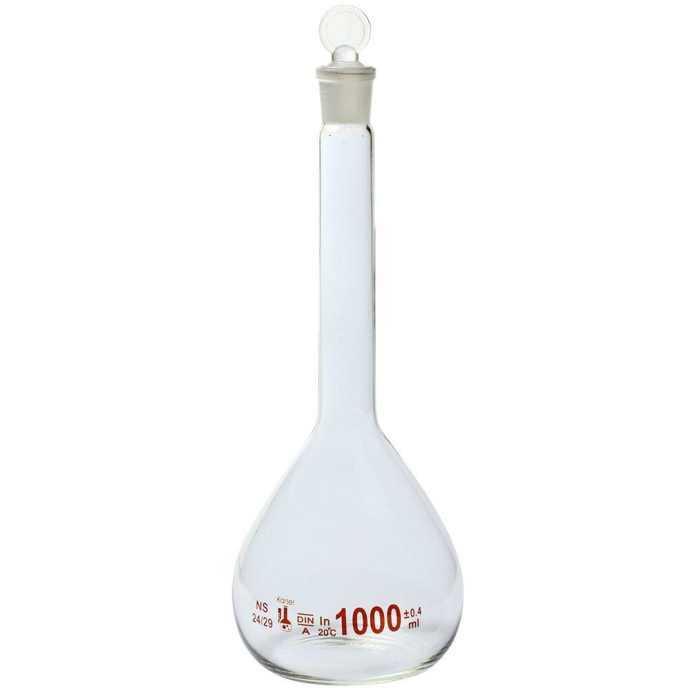 1000ml Volumetric Flask, 3.3 Boro Glass, Class A, Ground Stopper, Karter Scientific 213W12 (Single)