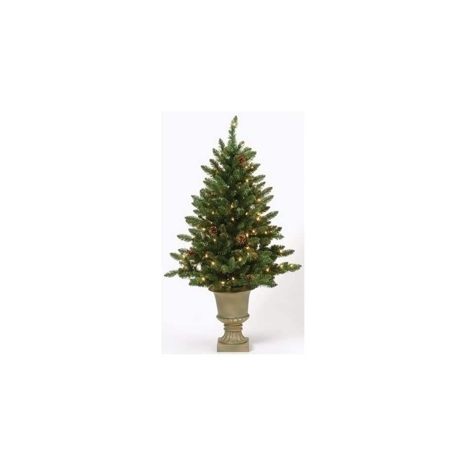 4 Pre Lit Indoor/Outdoor Freemont Christmas Potted Topiary Tree with Pine Cones
