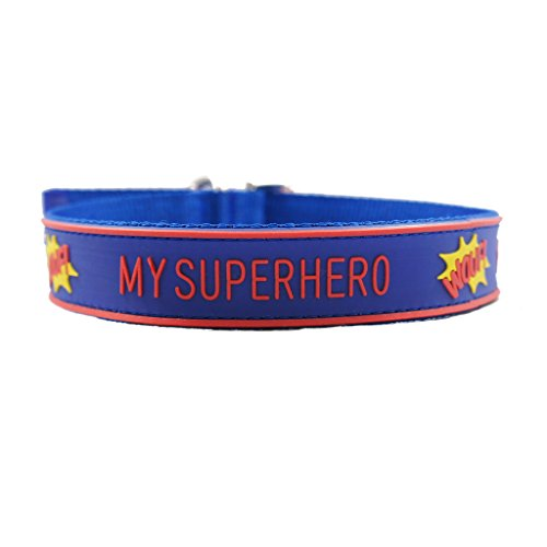 [Superhero Theme Nylon Pet Collar w/ Metal Buckle & D Ring for Dogs - Matching Leashes Available (Superman Theme, Small (12.5