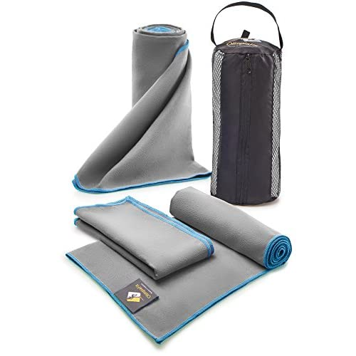 Set of 3 Microfiber Towels - Best For Gym, Sports, Travel, Camp, Outdoor - Quick Dry / Absorbent / Antimicrobial / Compact / Lightweight - Gift Toiletry Bag