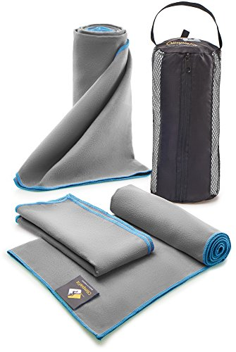 Set of 3 Microfiber Towels Quick Dry - Travel Sports Fitness Exercise Gym Body and Face Sweat Towel - Absorbent Swim Shower Bath Pool Towels - Antibacterial Camping Foot Towel - Bonus Carry Bag