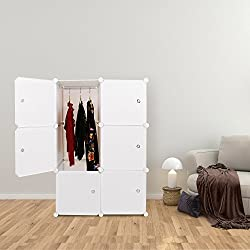 DIY White Kids Dresser Portable Closet Wardrobe Bedroom Armoire Clothes Hanging Storage Rack Cube Organizer Storage Toys, Clothes 3 Layer & 1 Hanger Section (2 Column 3 Layer)