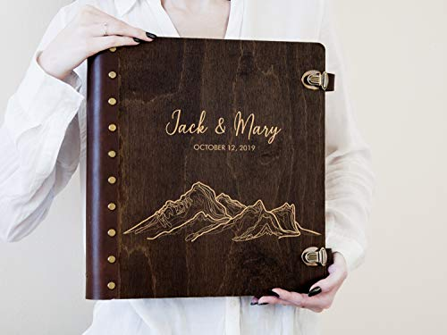 (Travel Photo Album Personalized Wedding Photo Book with Self-Adhesive Sheets Mountain Lover Gift Wedding Gift for Couple Wooden Engraved Scrapbook Album Wedding Photo Album)