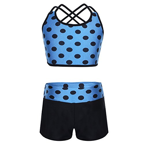 ACSUSS Children Girls 2-Pieces Ballet Gymnastics Dance Outfits Polka Dot Crop Top Bra and Shorts Set Swimsuit Blue 11-12 (Dance Outfits For Juniors)
