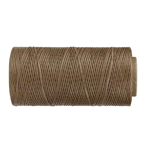 260m 1mm Flat Sewing Coarse Braid Waxed Thread Cord for Leather Shoes Repair 05 (Color - Light Coffee)