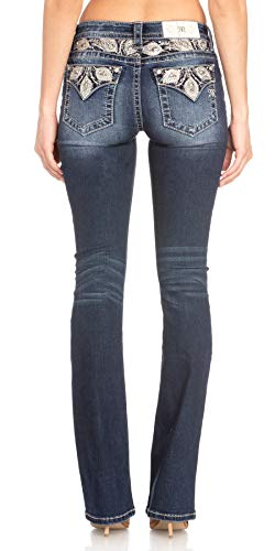 Peacock Embroidered Jean - Miss Me Women's Embroidered Peacock Feather Boot Cut Jeans (Dark Blue, 33)