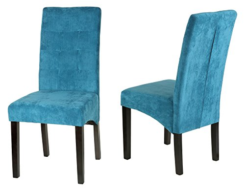 Cortesi Home Monty Microfiber Dining Chair, Blue, Set of 2