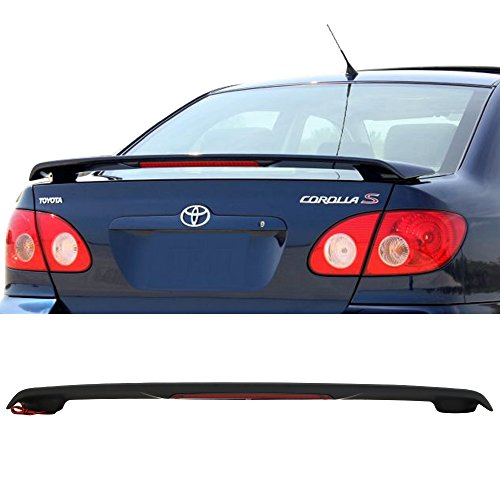 Trunk Spoiler Fits 2003-2008 Toyota Corolla | Factory Style ABS Matte Black With LED Brake Light Trunk Boot Lip Spoiler Wing Deck Lid By IKON MOTORSPORTS | 2004 2005 2006 2007