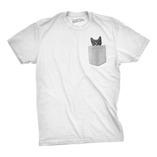 Mens Pocket Cat T Shirt Funny Printed Peeking Pet Kitten Animal Tee for Guys (White) - L Funny Printed T-shirts