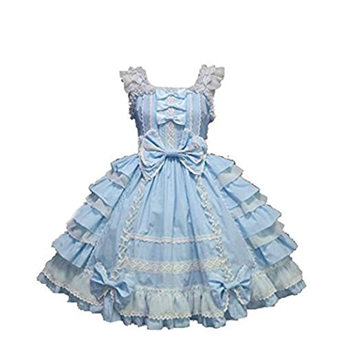 Nuoqi Womens Court Lolita Dress Blue&white Lace Cosplay Princess Dress S Size CC220M-S ()