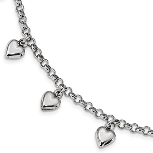 ICE CARATS 925 Sterling Silver Heart Charm Bracelet 7 Inch /love Fine Jewelry Gift Set For Women Heart by ICE CARATS