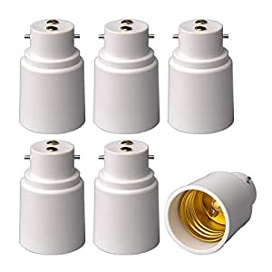 6-Pack E-simpo® B22 to E27 Adapter, Bayonet Base to E27 Lamp Holder Converter, CE Rohs Z1045