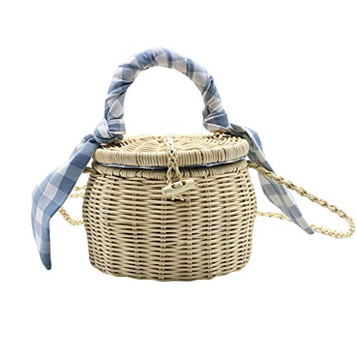 (DDKK bags Retro Hand-Woven Straw Handbag Handmade Tote Bamboo Purse Straw Beach Bag for Women-Linen Inside and Leather Button with Genuine Leather Strap-Lattice Bucket Bag-Messenger Shoulder Bag)