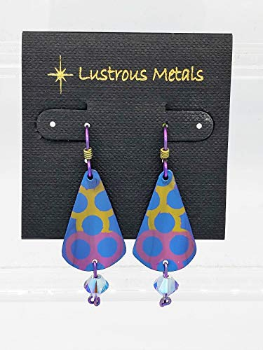 Niobium, drop earrings, chandelier, Lustrous Metals Jewelry,