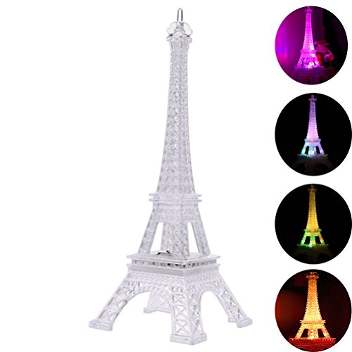 - LEDMOMO Eiffel Tower Nightlight Light Up Acrylic 7 Colors Changing 7.5 Inch Desk Night Light Kids Christmas Gift for Holiday Bedroom Centerpiece Decor