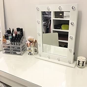 Light Up Dressing Table Hollywood Mirror LED Bulbs Make Up Vanity Mirror  Wooden (50 X