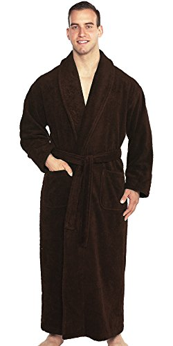 TurkishTowels Mens and Womens Original Terry Shawl Turkish Bathrobe, XL,Espresso