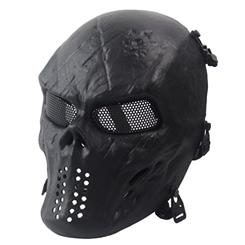 Charberry Halloween Airsoft Paintball Skull Skeleton Tactical Military CS Mask (Black) (Vintage Military Costumes)