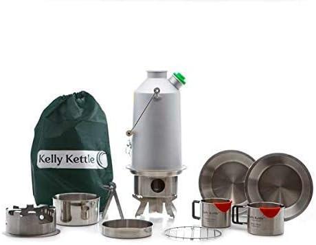 Ultimate Base Camp Kit (Aluminio) - Valor Acuerdo. Incluye 1,6 Litros Aluminio Anodizado Tetera Camping + Silbato + Cook Set + Hobo Campamento Estufa + de Tazas (2pcs) + Placa +Base / Maceta: Amazon.es: Deportes y aire libre